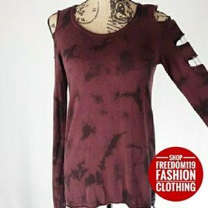 Rock & Republic   Tie Dye Cutout Sweater (S)